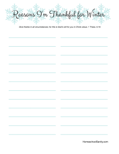 Reasons I'm Thankful for Winter free printable