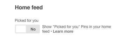 Pinterest news feed